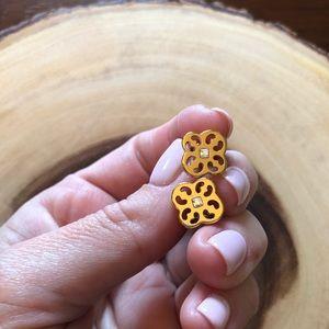 {My Flat In London} shiny gold post earrings